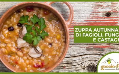 Zuppa autunnale di fagioli, funghi e castagne